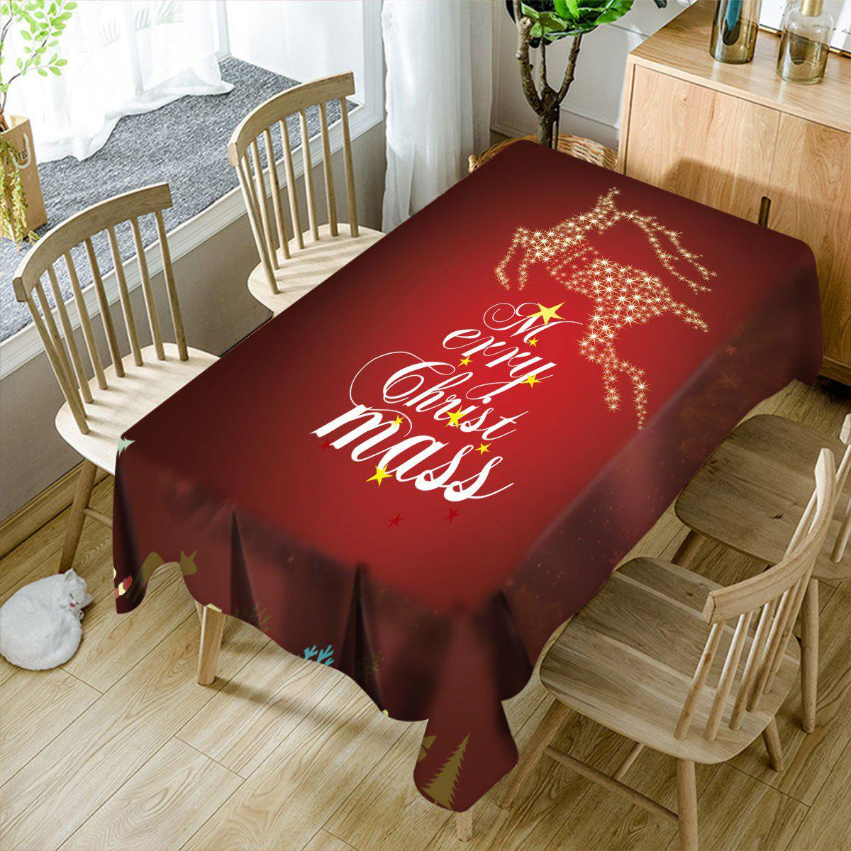Merry Christmas Sparkling Deer Pattern Waterproof Table Cloth lg ms2043hs