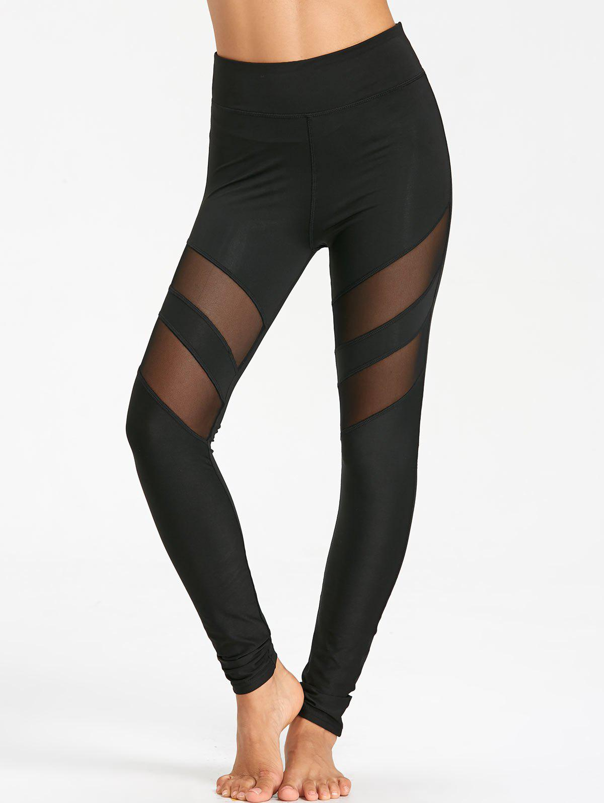 High Waist Mesh Panel Workout Leggings - BLACK L