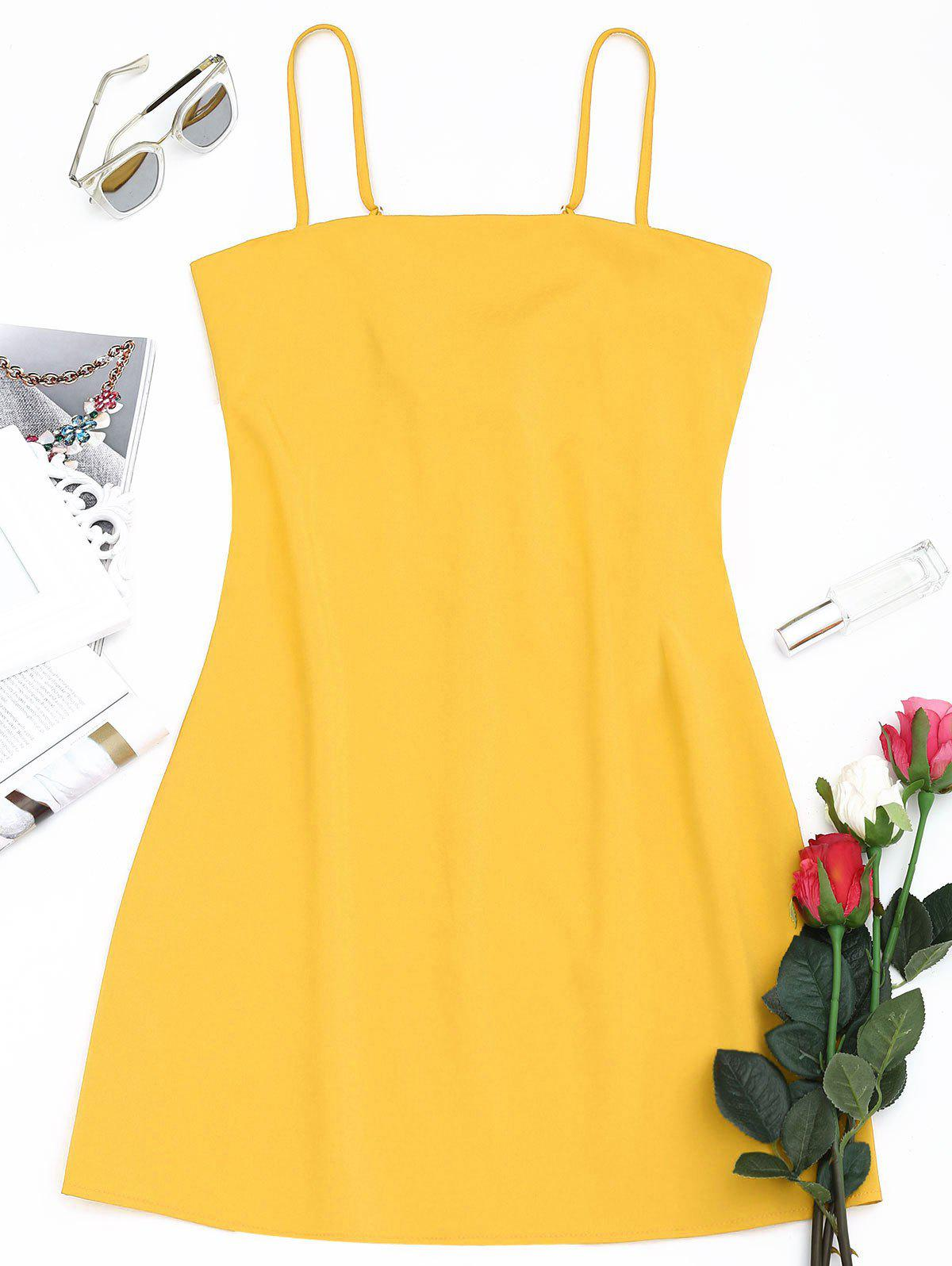 Tied Bowknot Back Mini Spaghetti Strap Dress - YELLOW M
