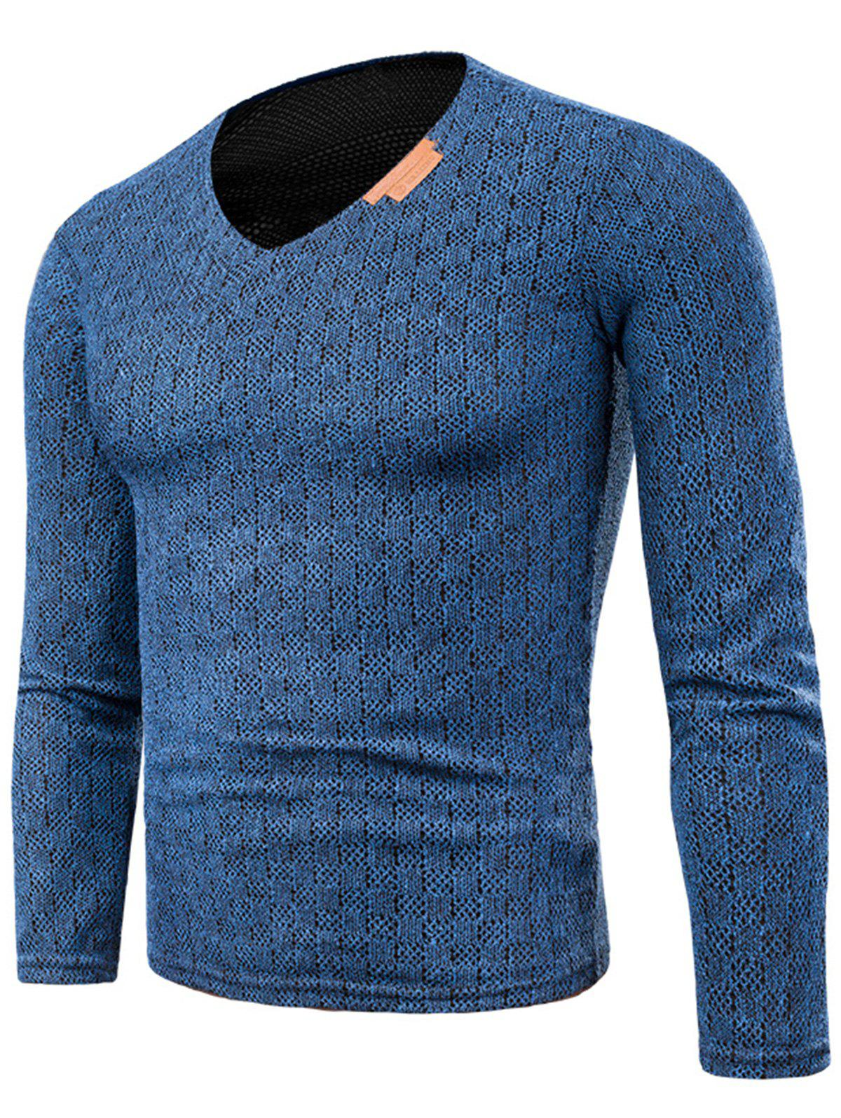 2018 v neck long sleeve applique knitted t shirt blue xl for Applique shirts for sale