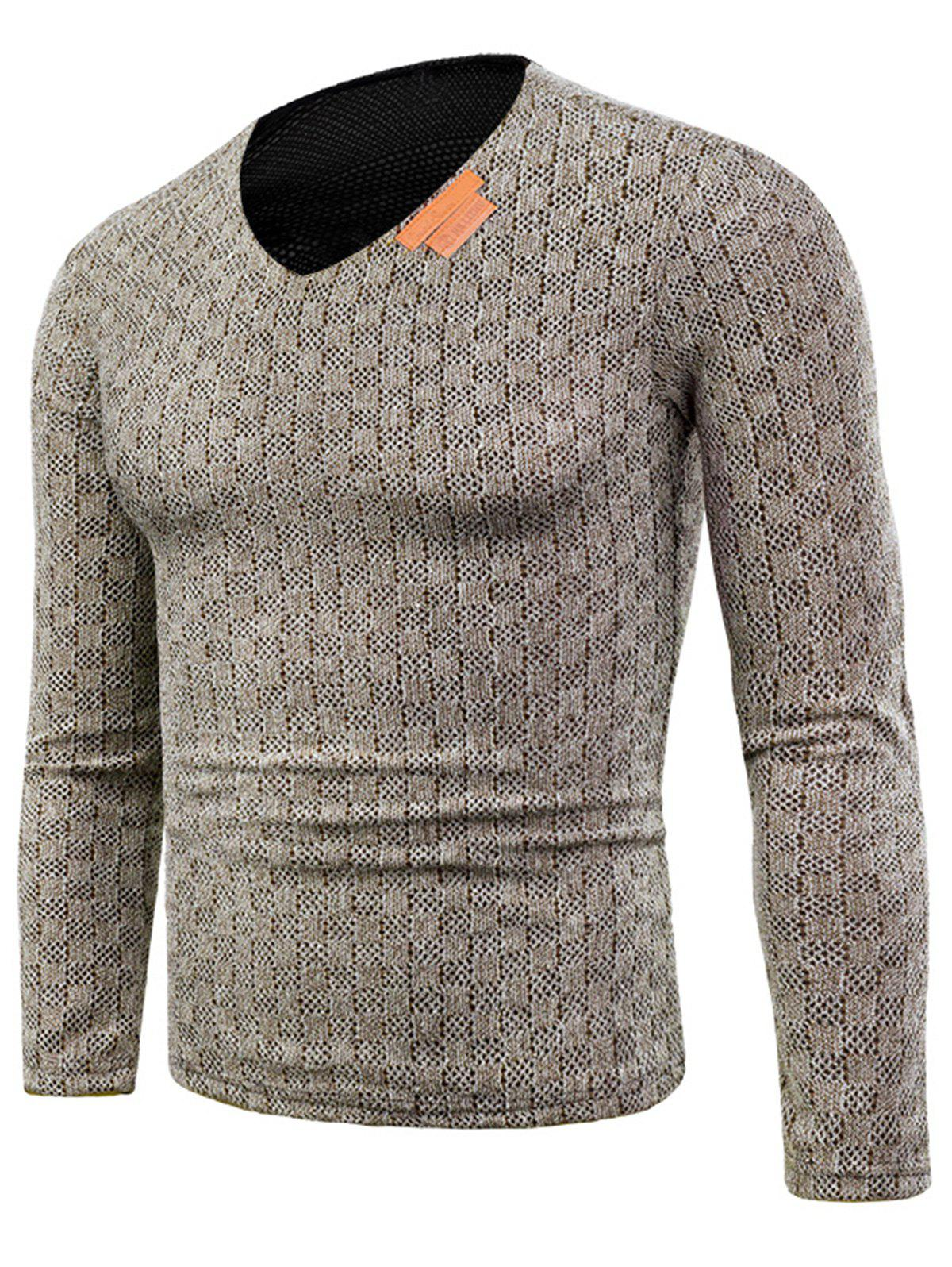 V Neck Long Sleeve Applique Knitted T-shirt