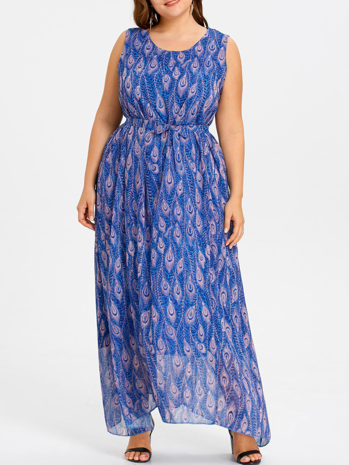 Peacock Plus Size Maxi Beach Dress - LARKSPUR 4XL