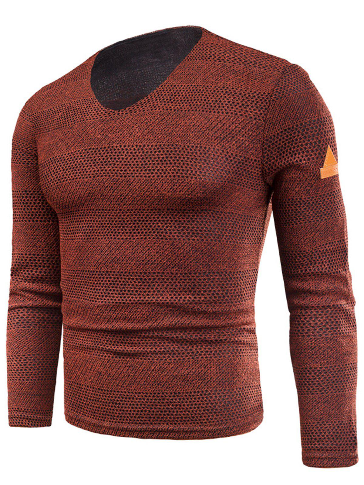 V Neck Long Sleeve Knitted Fleece T-shirt - RED 2XL