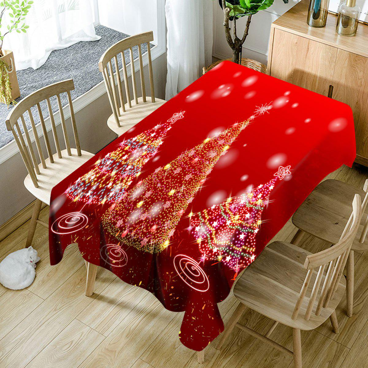 Three Sparkling Christmas Trees Pattern Waterproof Table Cloth - RED W60 INCH * L84 INCH