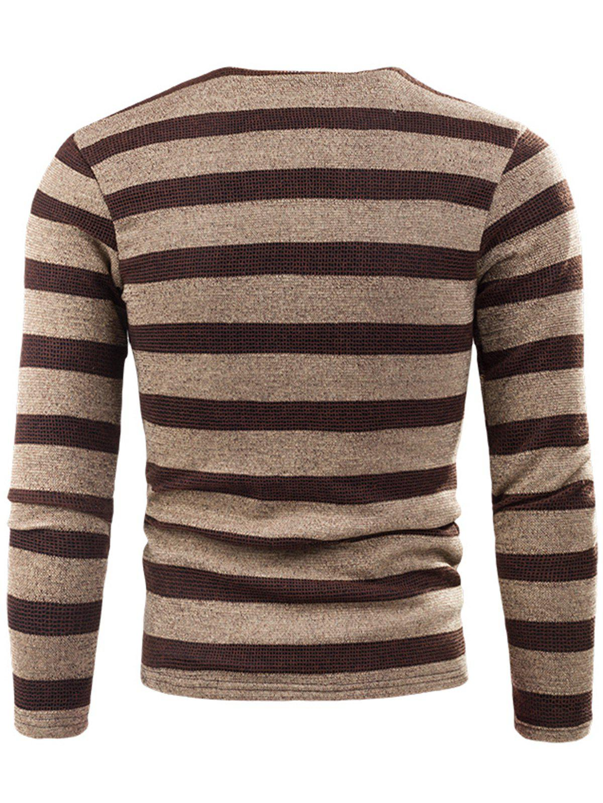 V Neck Stripe Fleece Knitted T-shirt - KHAKI 3XL