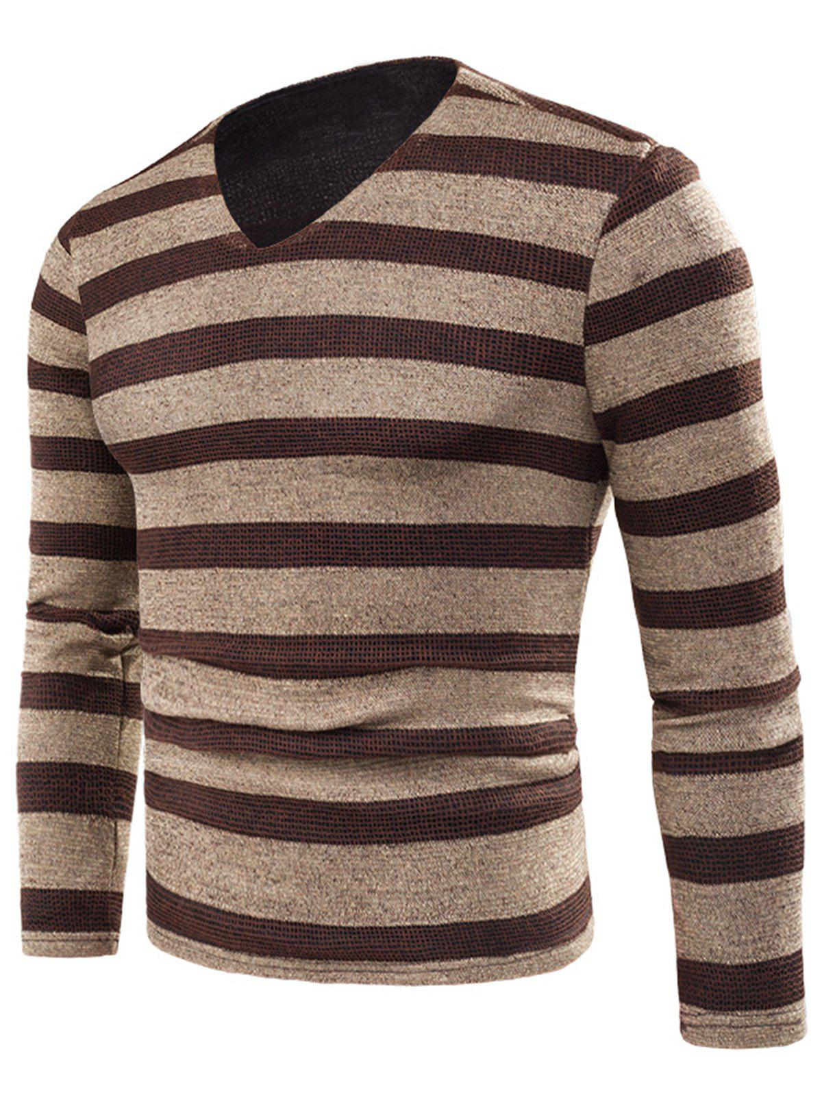 V Neck Stripe Fleece Knitted T-shirt - KHAKI 6XL