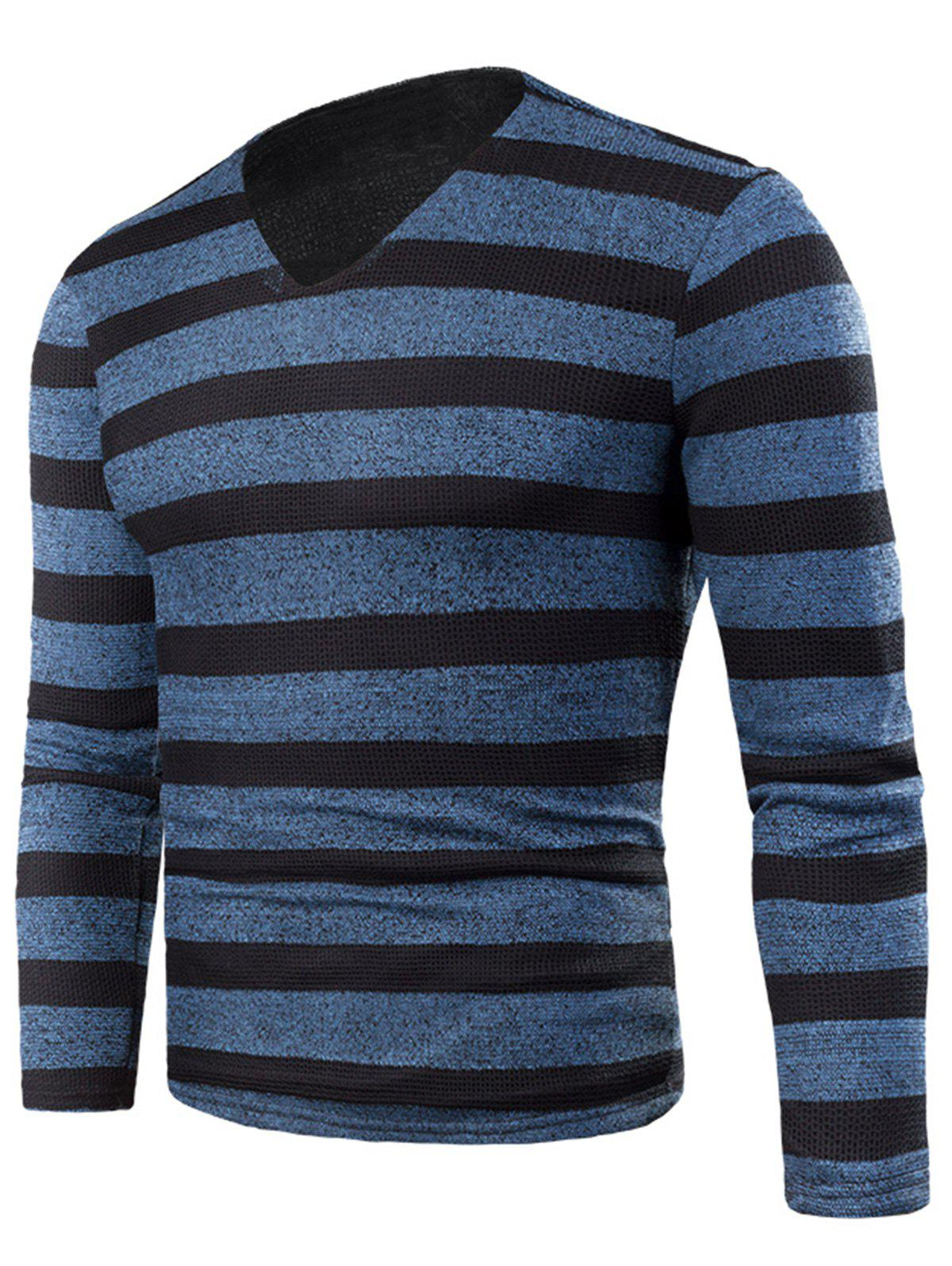V Neck Stripe Fleece Knitted T-shirt - BLUE 4XL