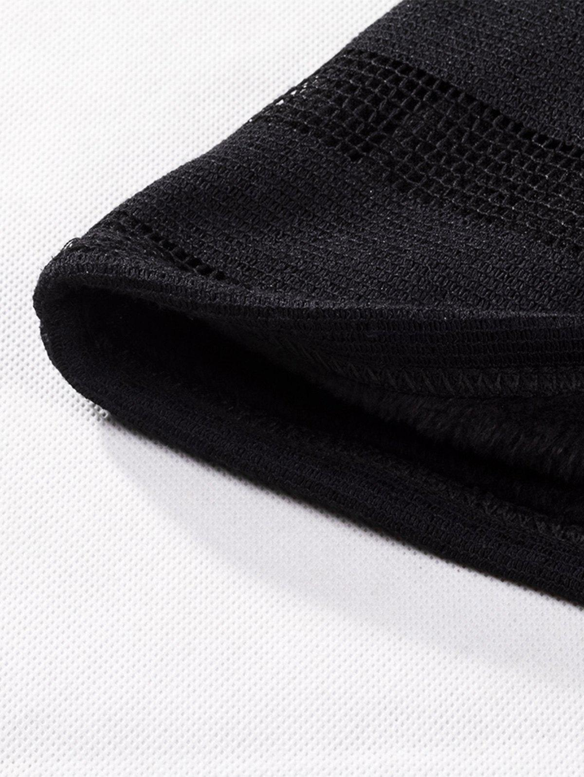 V Neck Stripe Fleece Knitted T-shirt - BLACK 4XL