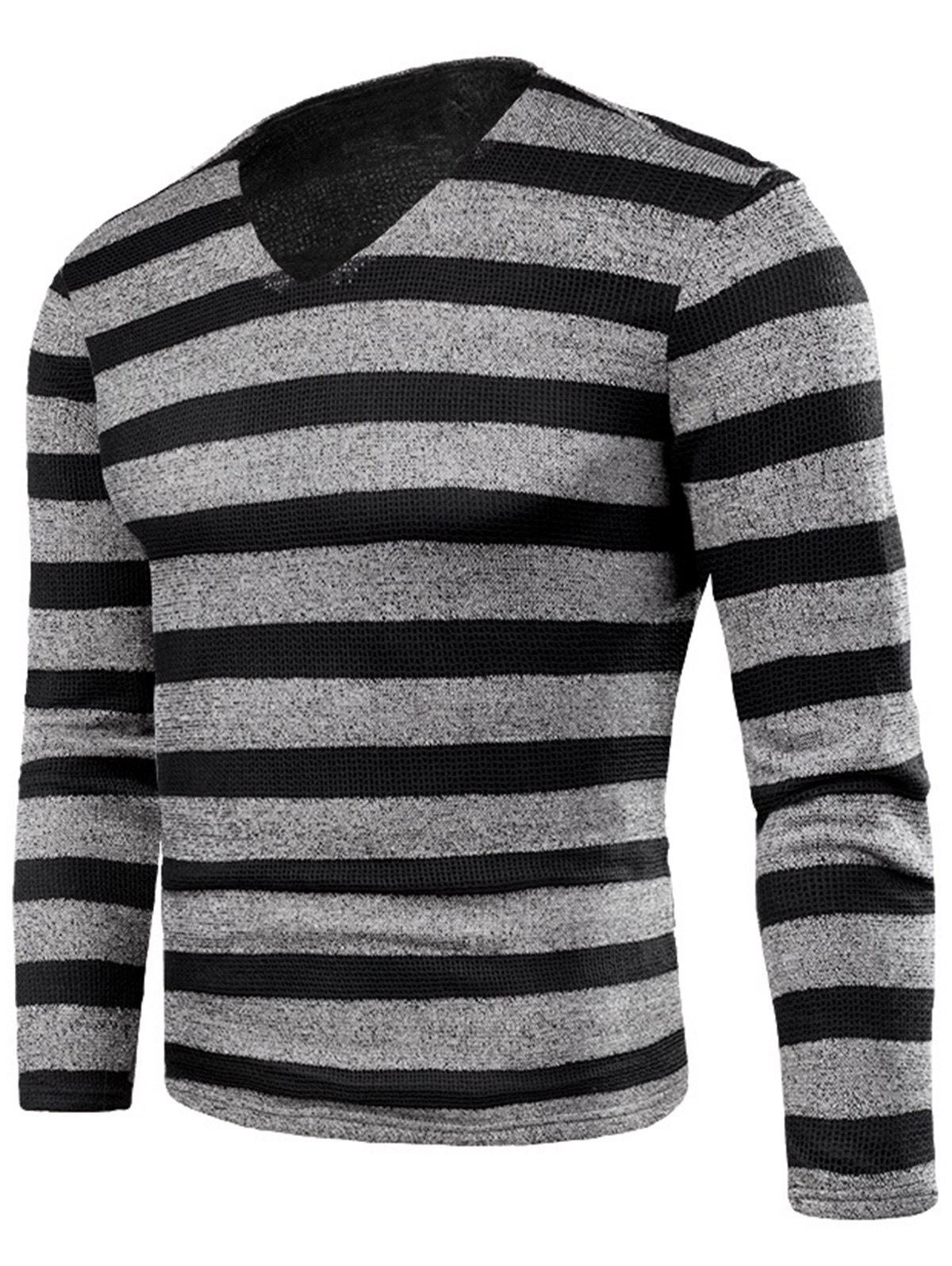 V Neck Stripe Fleece Knitted T-shirt - GRAY 6XL