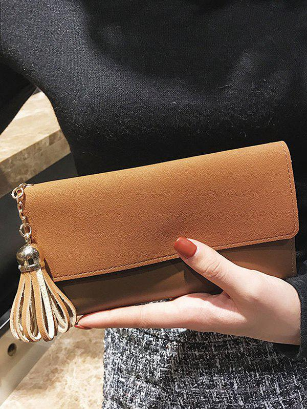 Tassel Pendant Long Frosted Wallet - BROWN