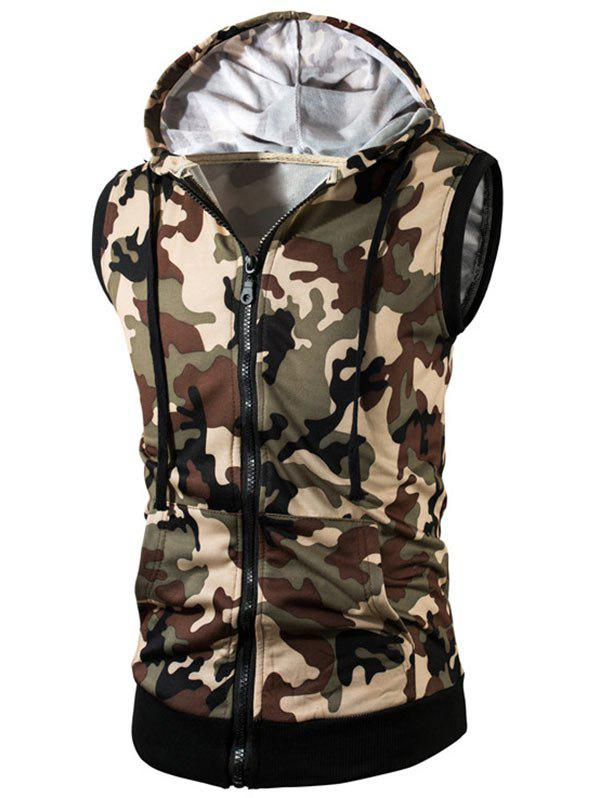 Zip Up Kangaroo Pocket Hooded Camo Vest - KHAKI L