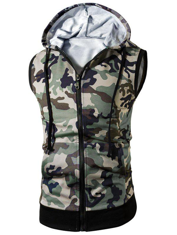 Zip Up Kangaroo Pocket Hooded Camo Vest - GREEN XL