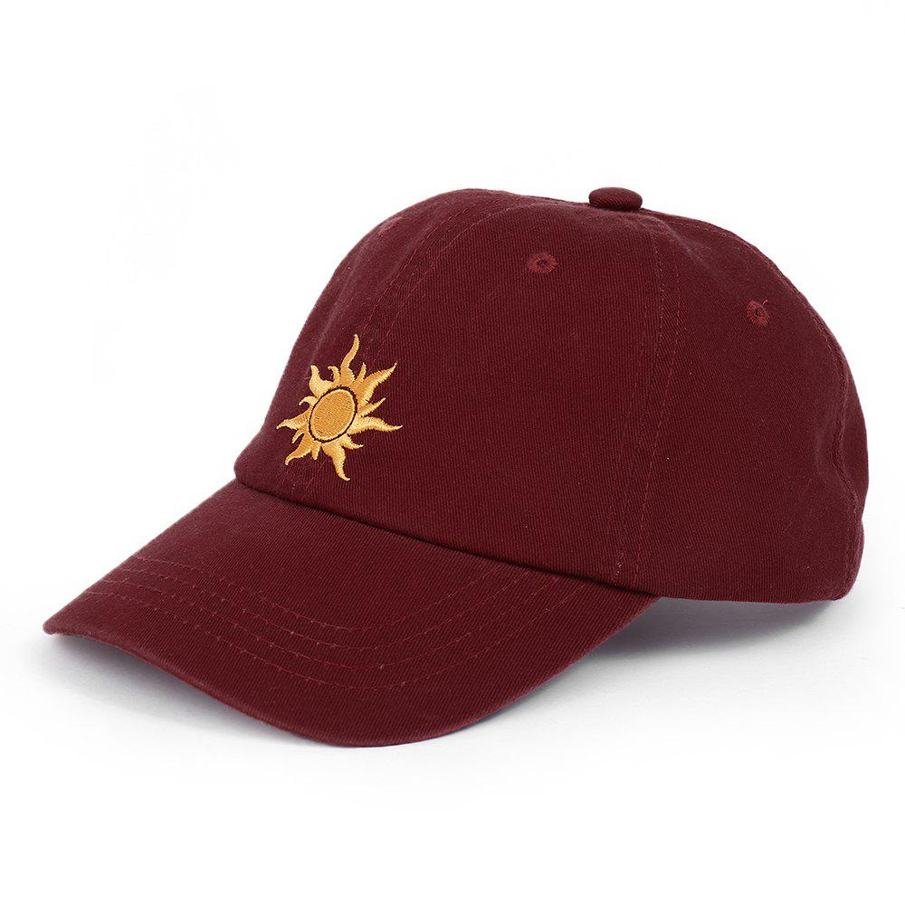 Outdoor Sun Pattern Embroidery Baseball Hat - WINE RED