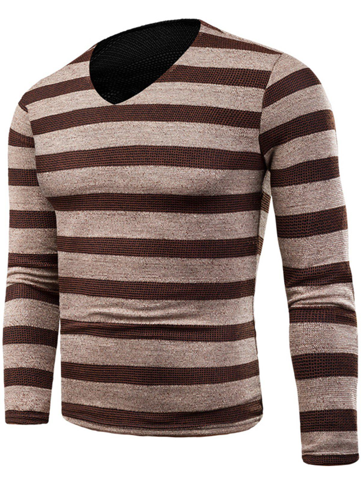 V Neck Long Sleeve Knitted Stripe T-shirt - KHAKI 5XL
