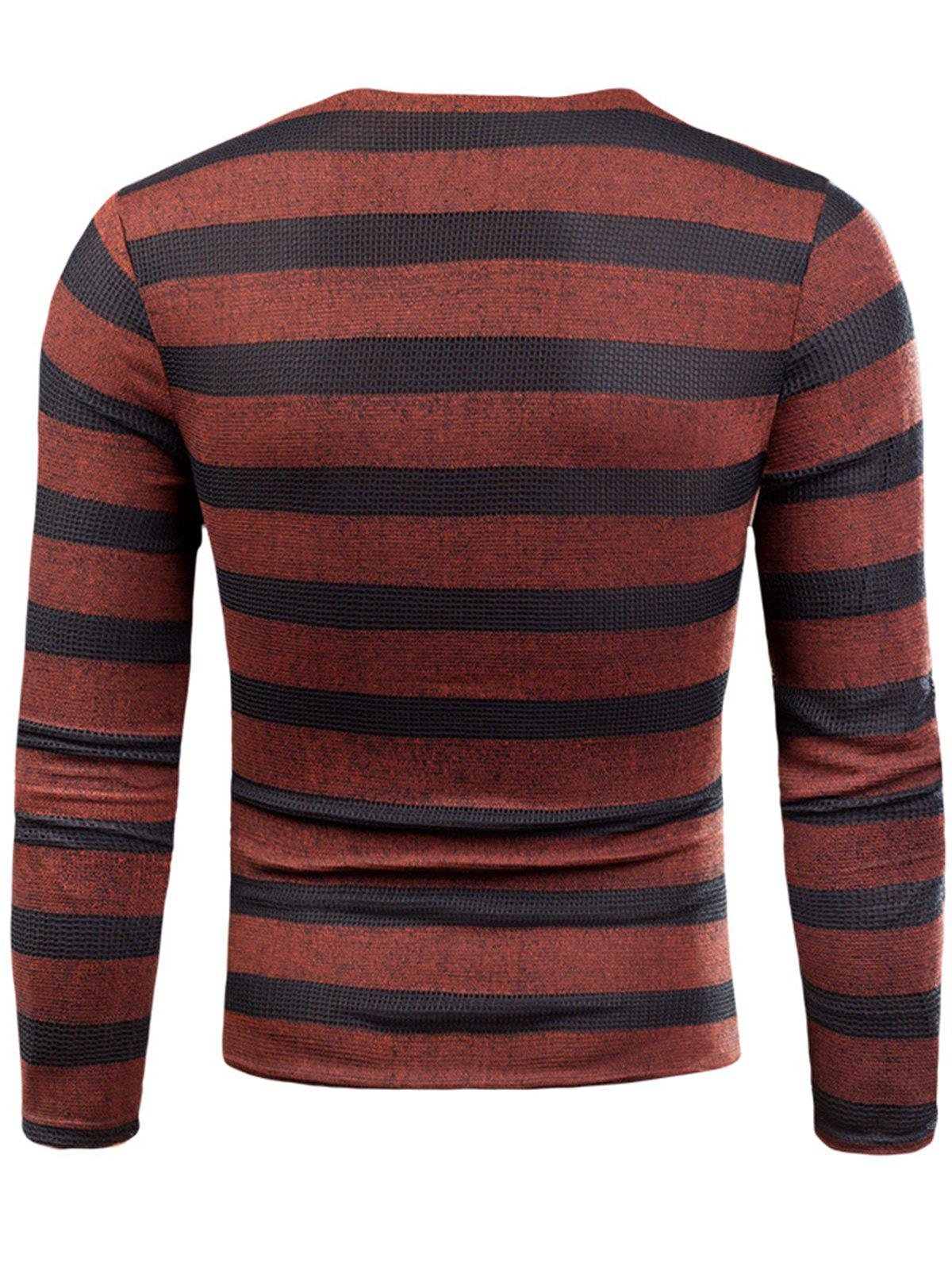 V Neck Long Sleeve Knitted Stripe T-shirt - RED 2XL