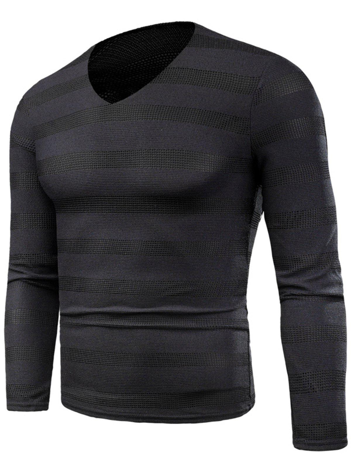 V Neck Long Sleeve Knitted Stripe T-shirt - BLACK 2XL