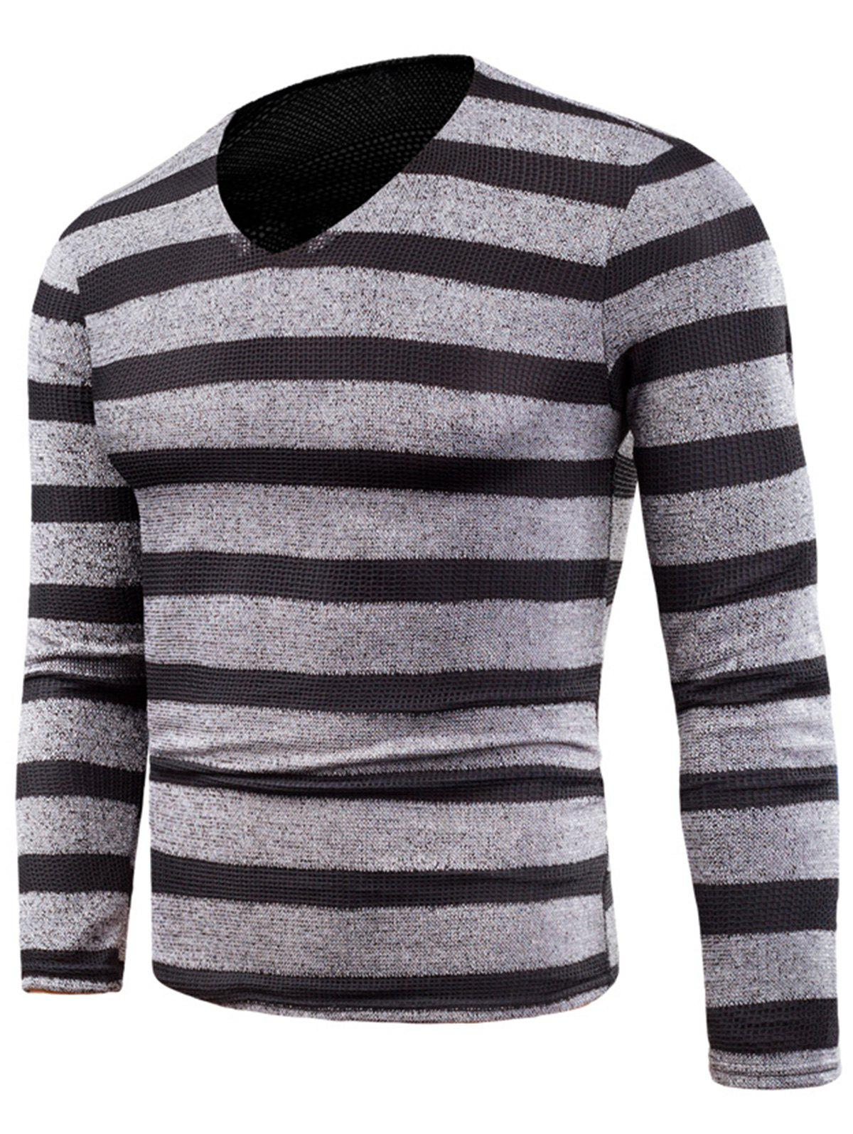 V Neck Long Sleeve Knitted Stripe T-shirt - GRAY 6XL