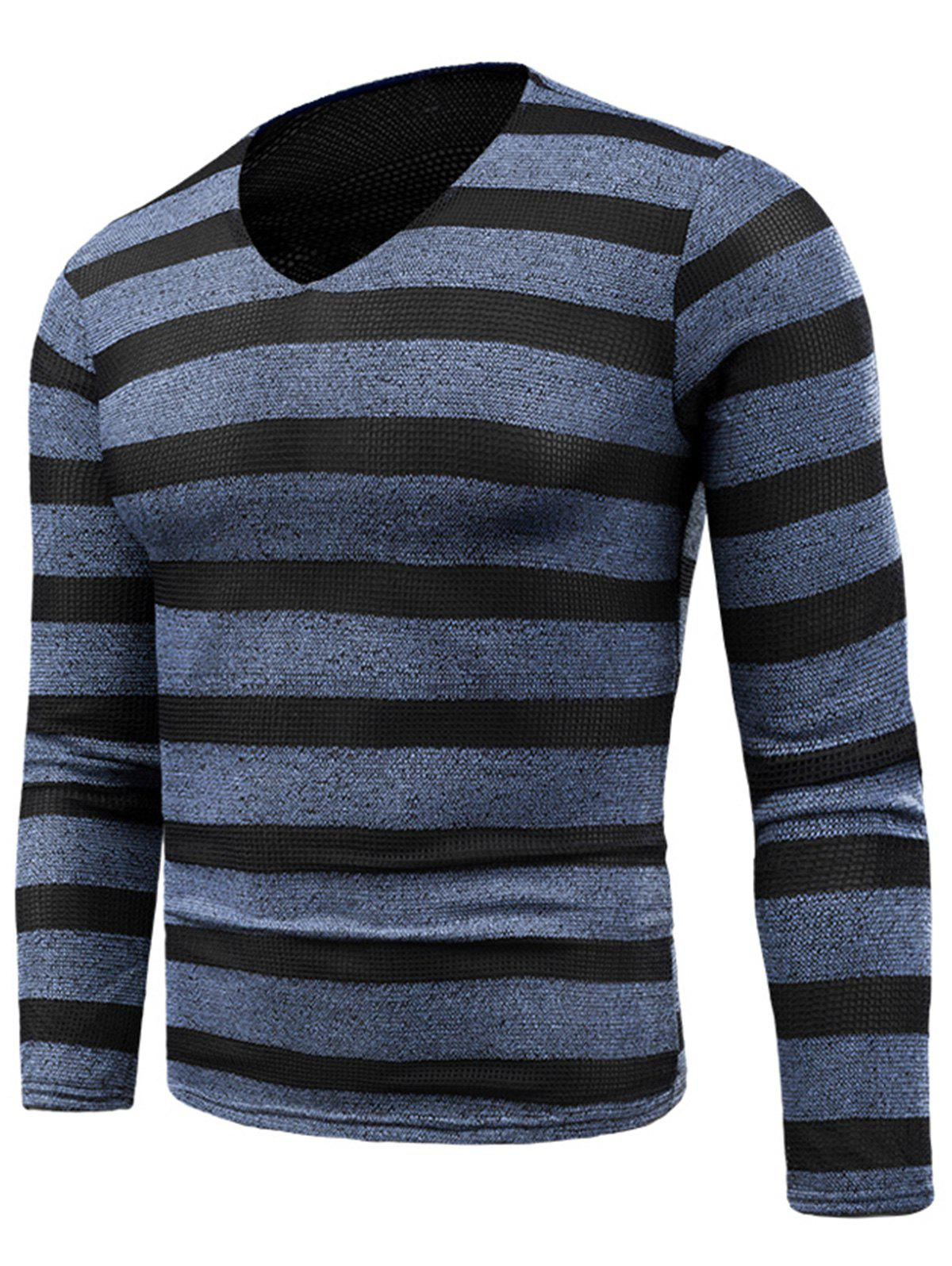 V Neck Long Sleeve Knitted Stripe T-shirt - BLUE 2XL