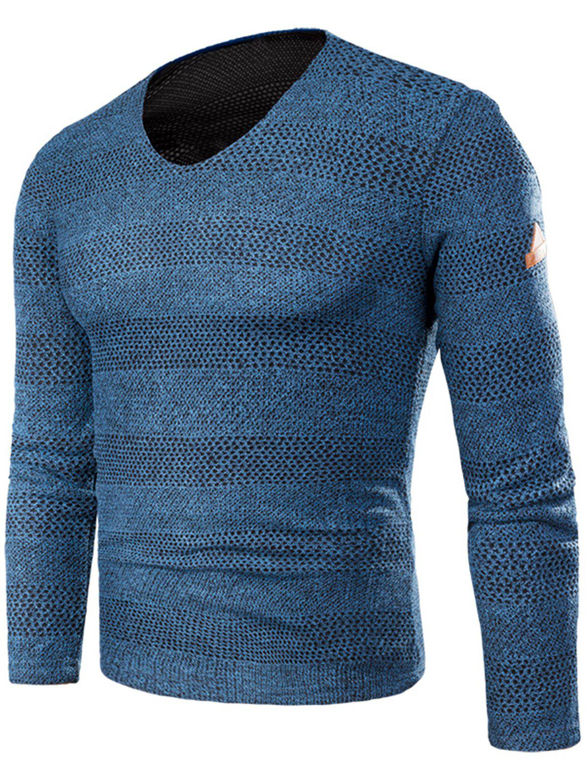 Knitted V Neck Long Sleeve T-shirt - BLUE 2XL