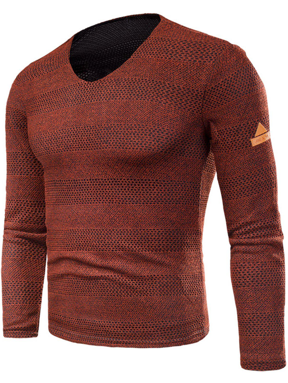 Knitted V Neck Long Sleeve T-shirt - RED 5XL