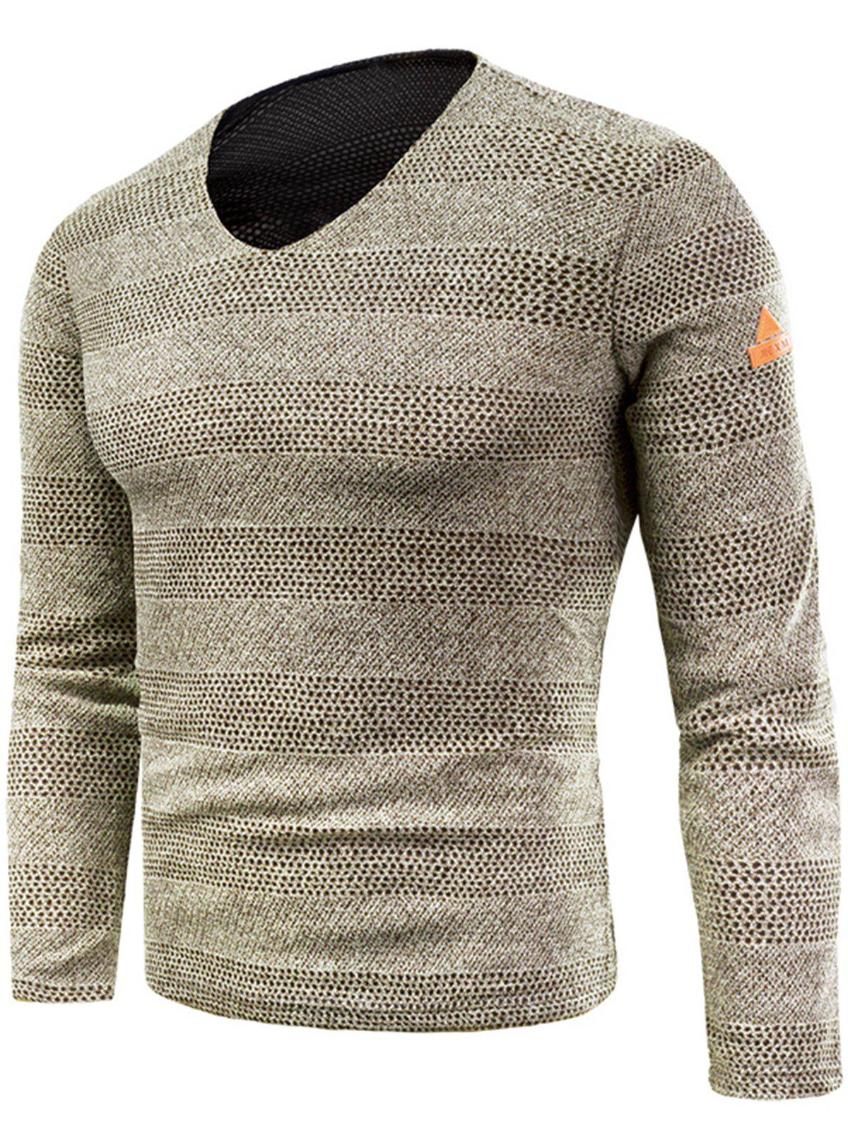 Knitted V Neck Long Sleeve T-shirt - KHAKI 2XL