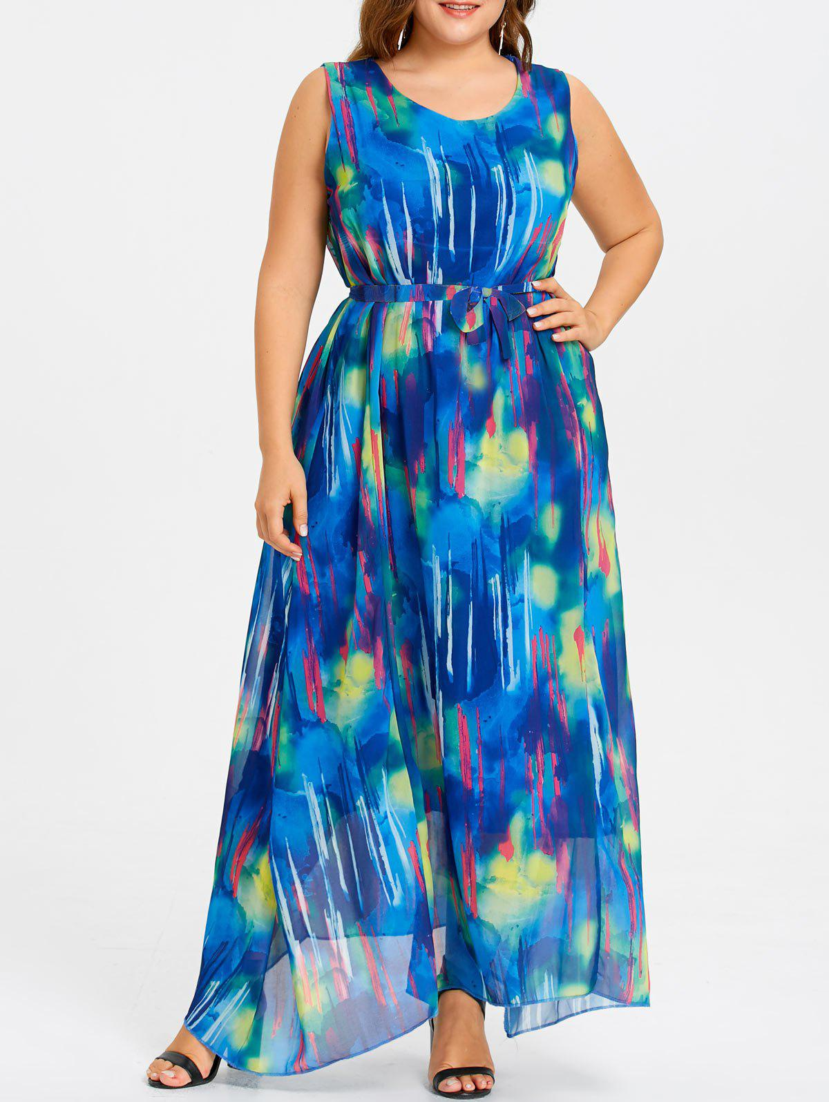 Chiffon Plus Size Maxi Beach Dress - BLUE 5XL