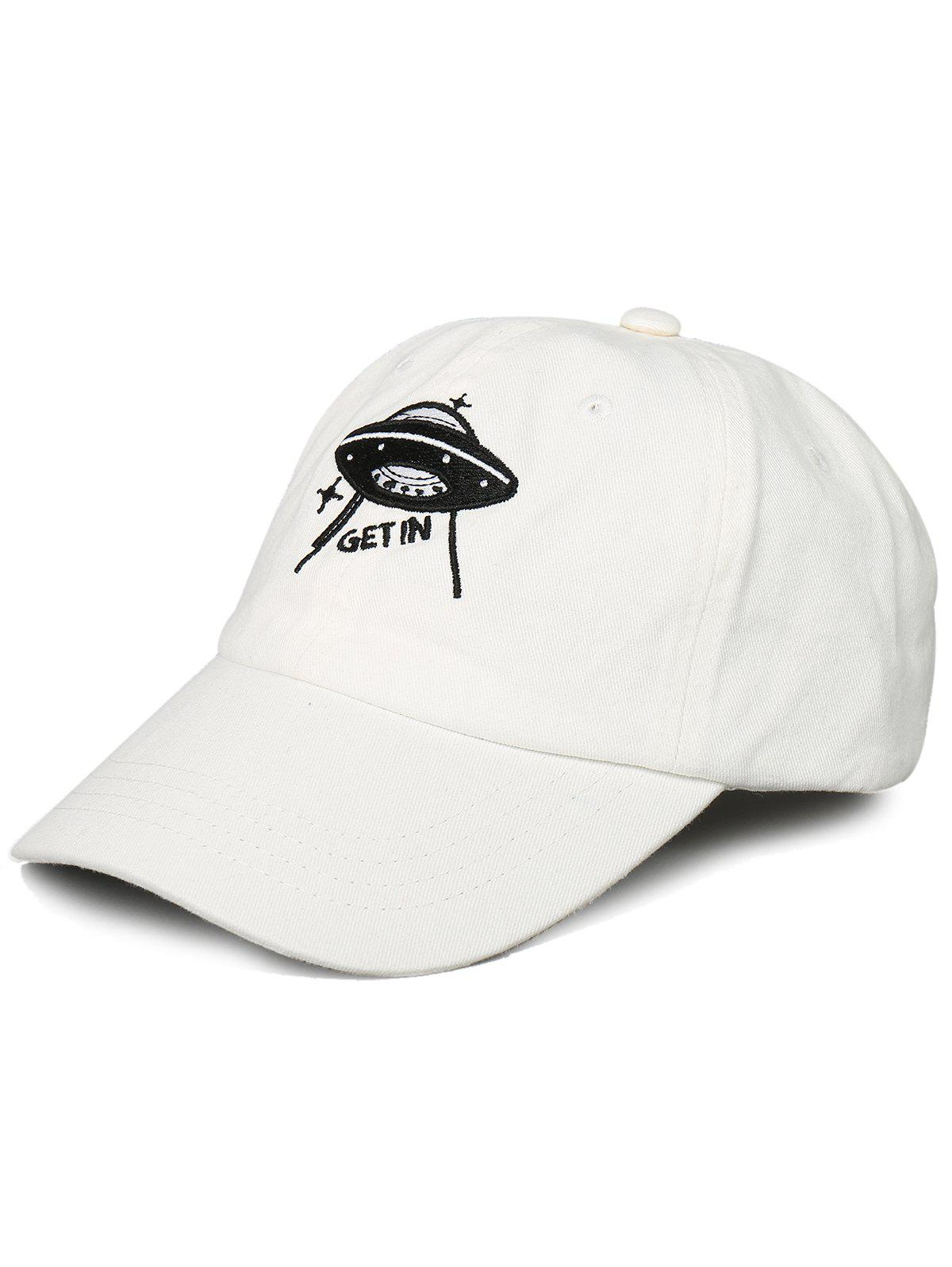 Outdoor UFO Pattern Embroidery Baseball Hat - WHITE