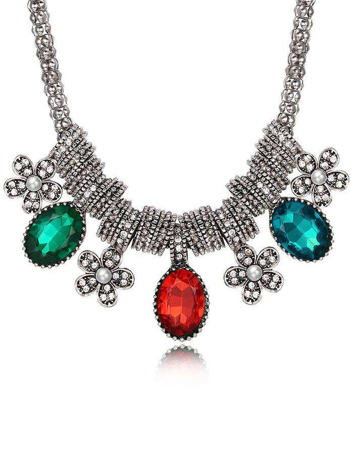 Luxury Rhinestone Inlay Floral Pendant Necklace - multicolor