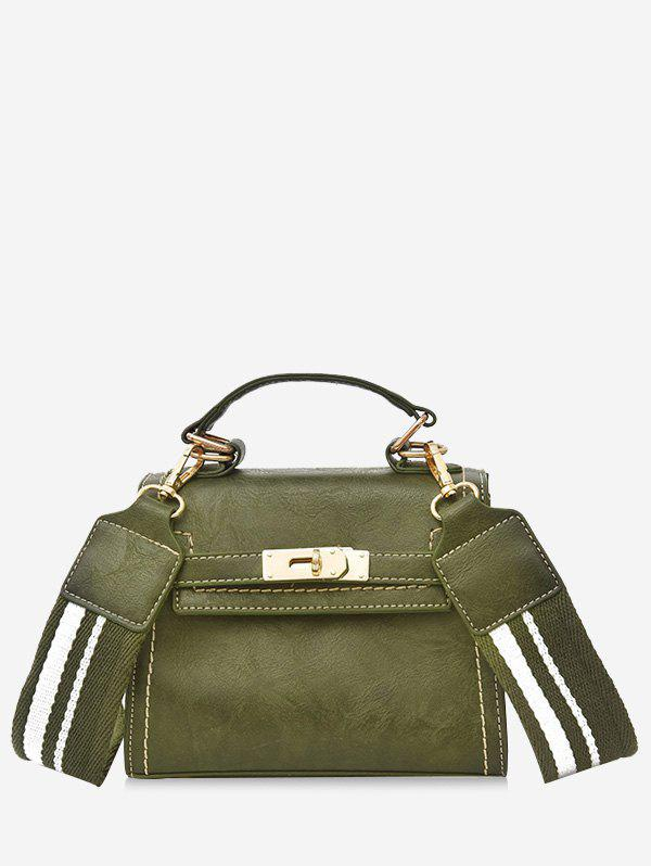 Hasp Stripe Strap Vintage Crossbody Handbag - GREEN