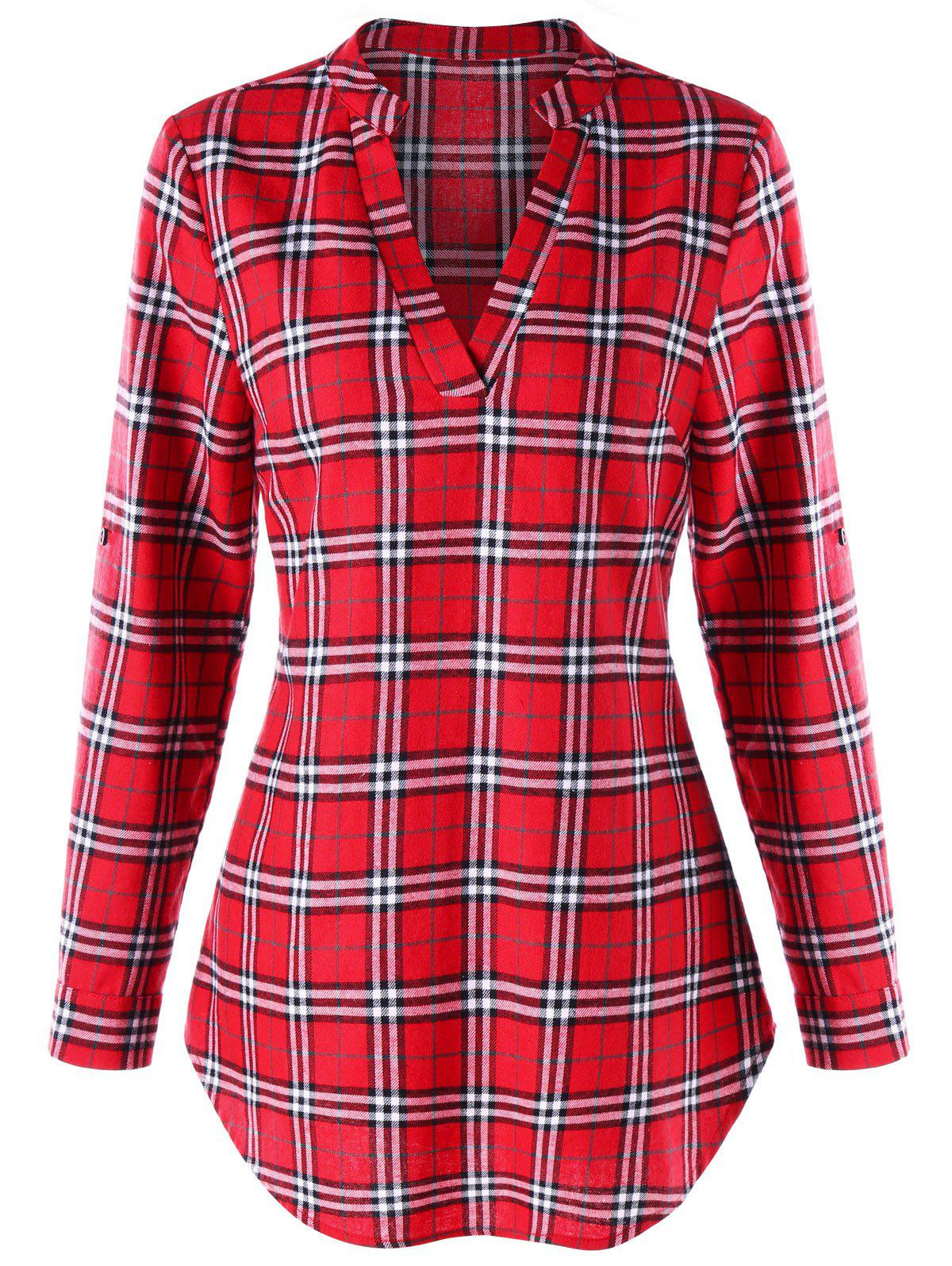 Split Neck Plaid Curved Blouse split