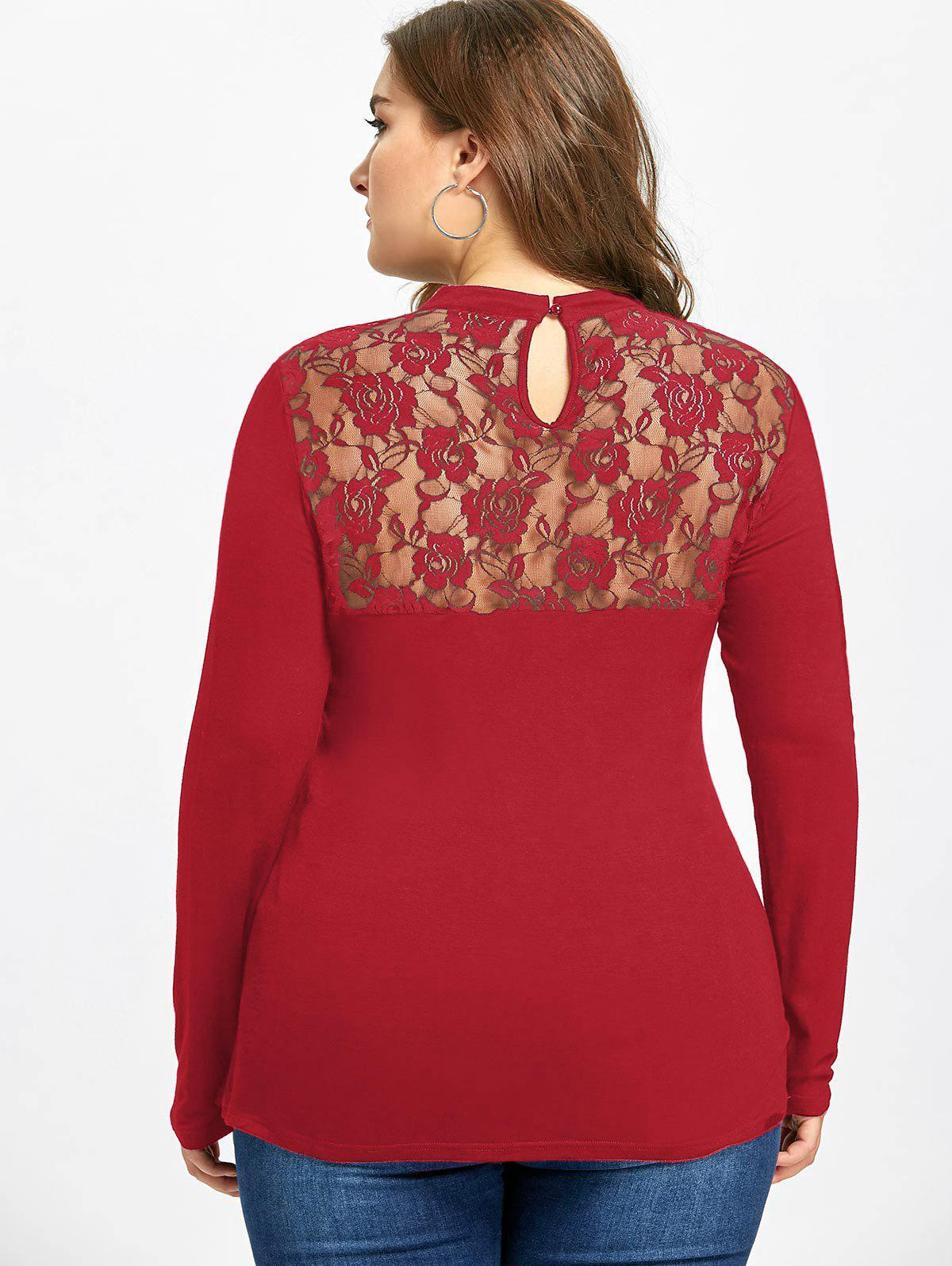 Plus Size Lace Panel Keyhole Top - RED 2XL