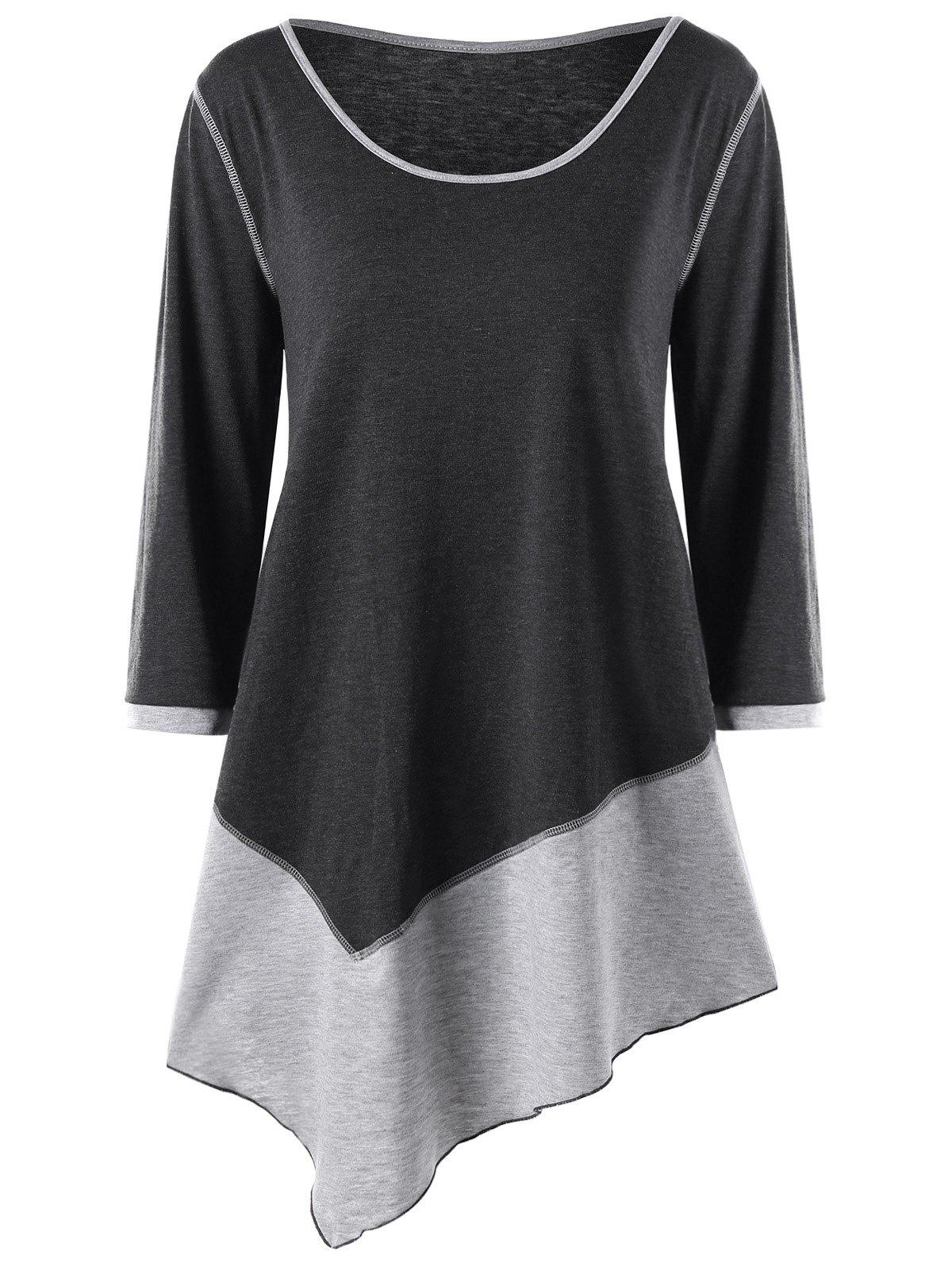 Plus Size Two Tone Asymmetrical Tee plus size two tone asymmetric tee