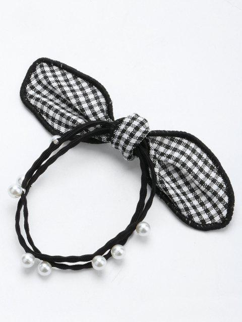 Faux Pearl Bows Elastic Hair Band - BLACK