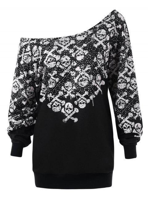 Plus Size Monochrome Skulls Skew Collar Sweatshirt - BLACK 2XL