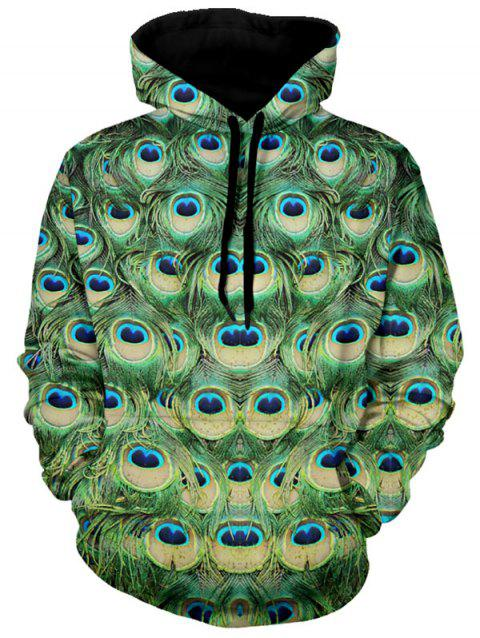 Peacock Feather Pattern Drawstring Pullover Hoodie - GREEN L