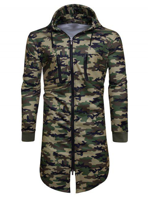 Longline Fleece Camouflage Zip Up Hoodie - ARMY GREEN CAMOUFLAGE L