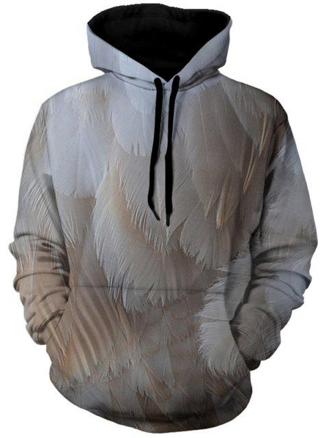 Feather Pattern Kangaroo Pocket Drawstrimg Hoodie - GRAY M