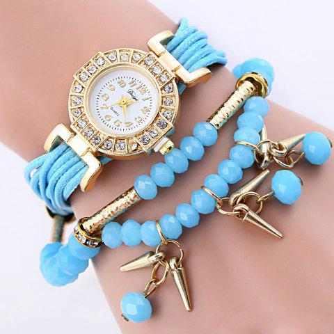 Beaded Rhinestoned Charm Bracelet Watch - AZURE