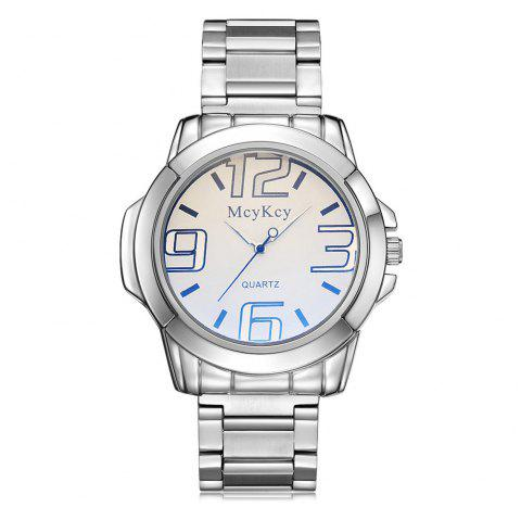Alloy Strap Number Analog Quartz Watch - WHITE