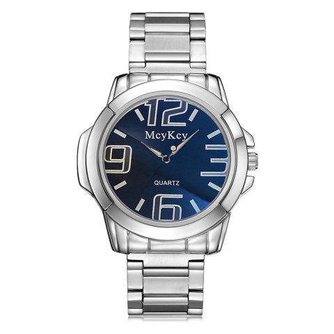 Alloy Strap Number Analog Quartz Watch - BLUE