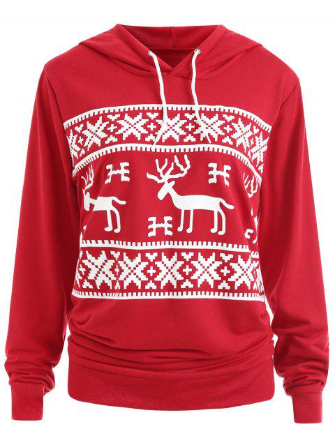 Plus Size Christmas ELK Hoodie with Pocket - RED 3XL