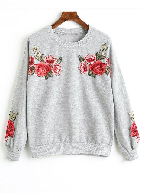 Drop Shoulder Flower Appliques Sweatshirt - GRAY S