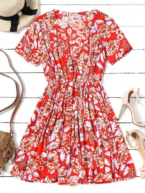 Floral Half Buttoned Short Sleeve Mini Dress - RED S