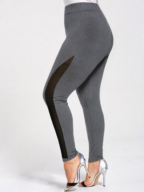 Skinny Plus Size Mesh Panel Leggings - DEEP GRAY 2XL