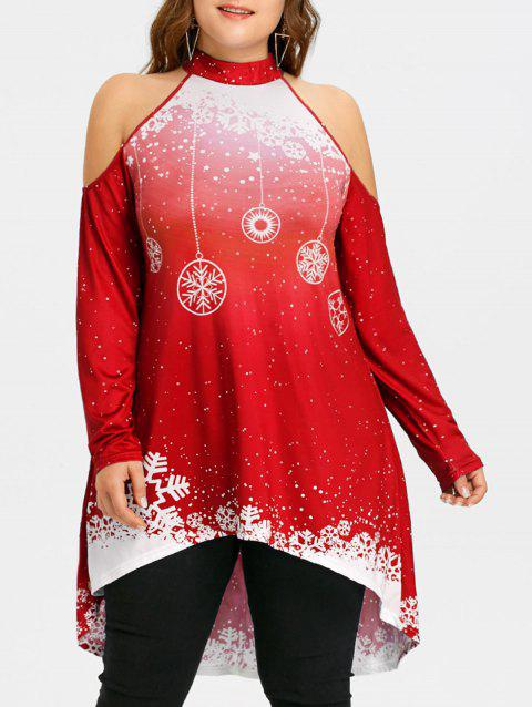 Christmas High Low Cold Shoulder Plus Size T-shirt - RED 3XL