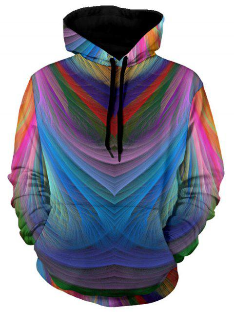 Kangaroo Pocket Drawstring Irregular Stripe Colorful Hoodie - COLORMIX 3XL