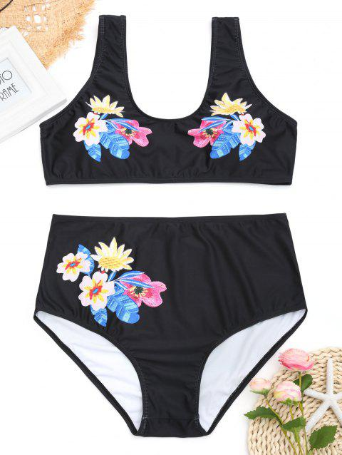 High Waisted Floral Plus Size Bikini Set - BLACK 3XL