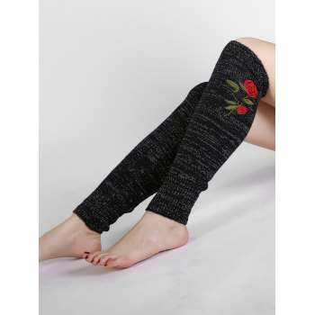 Rose Embroidery Color Splice Crochet  Knitted Leg Warmers - BLACK