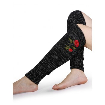 Rose Embroidery Color Splice Crochet  Knitted Leg Warmers - BLACK BLACK