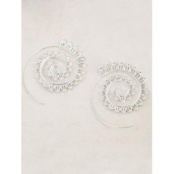 Hollow Out Geometric Big Spiral Hook Earrings -  SILVER